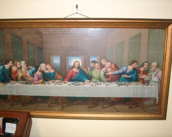 Vintage Framed Print, Last Supper, Religious, Picture, 30 1/2 by 16 1/2 inches, WAS 85.00 - 20% = 68.00