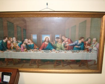 Vintage Framed Print, Last Supper, Religious, Picture, 30 1/2 by 16 1/2 inches