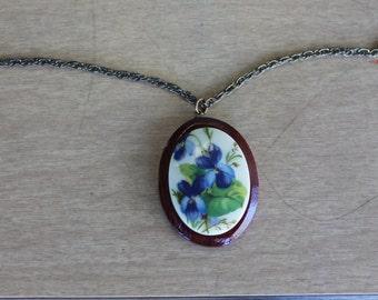 1960's Painted Porcelain Flower on Wood Pendant Necklace