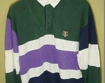 BIG SALE Vintage 90s Chaps ralph lauren Colorblock Multicolor Cookies Crest rugby shirt stadium p wing bear ski beach snow k swiss 1992 polo