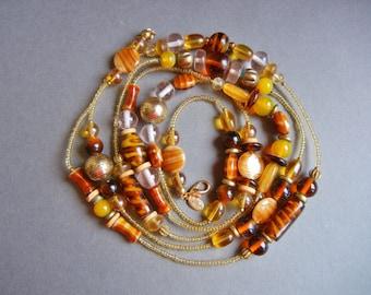 Vintage Mei Fa Art Glass Necklace, Mei Fa long glass necklace, Mei Fa topaz amber necklace, Mei Fa necklace, Mei Fa super long necklace