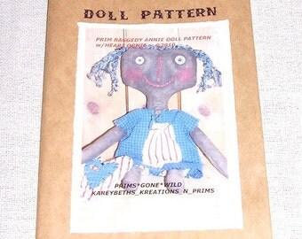 Primitive Raggedy Annie Doll, Heart Ornie Pattern 3107B, Craft Sewing Pattern