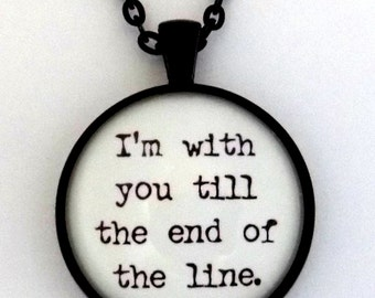 Marvel Captain America I'm With You Till The End Of The Line Bucky Barnes Steve Rogers Winter Soldier Quote Pendant Necklace Keychain Stucky