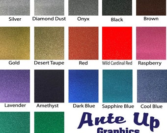 "Glitter Adhesive Vinyl 5 - 12x12"" Sheets Oracal 651 Oracal 951 comparable FDC 3700 Ultra Metallic Permanent Glitter Vinyl Outdoor Vinyl"