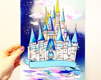 Magic Kingdom Castle drawing poster