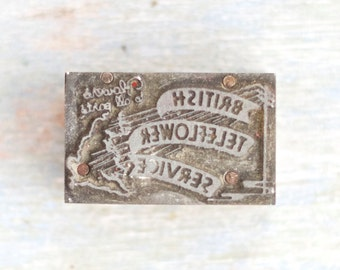 British Teleflower Service - Antique Letter Press Print Block