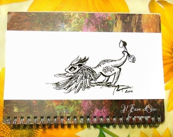 Dragon illustration - Playful Rainbowing. Original Haiku ink drawing on high quality paper, legend myth Italy art collection OOAK fairy