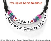 Two Tiered Name Necklace, Hash Name Necklace, Parachute cord name necklace with 2 slip knots, colored beads, White 7mm Letters, Your Name