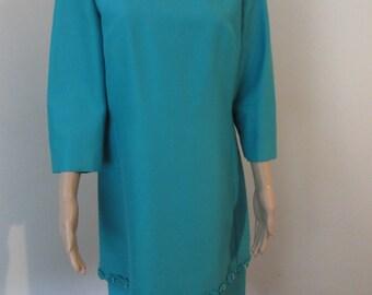 """BEAUTIFUL Vintage 1950's Turquoise 'Petite Francais' Dress - Chest 40"""" - So Gorgeous!!"""