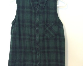 Green Flannel Button-up Tank