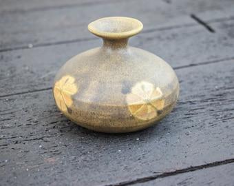 Mid Century Pottery / Clay Bud Vase / Vintage Small Retro Modern