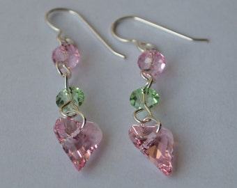 Pink and Green Swarovski and Sterling Silver Earrings