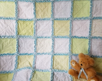 Blue and green rag quilt with minky back, for baby boy