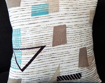 "Mid Century Modern Barkcloth Pillow Cover Atomic 1950's ""Turquoise SQ-1""  Mad Men"