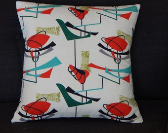 "Atomic Pillow Cover Barkcloth ""Asteroid"" Mid Century Modern 20"" Retro Sputnik Mad Men"