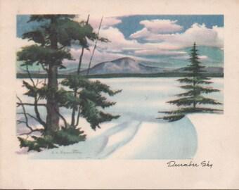 1970s Christmas Card, December Sky, Used, fair shape