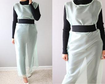 Sheer Organza Dress/Mint Pencil Dress/Long Mint Dress/ Long Sheer Dress