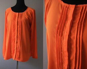 Vintage Orange Top/Orange Blouse/Long Sleeves Blouse/Office Blouse/Summer Orange Blouse/Orange top