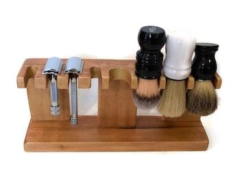 Safety razor  shaving brush stand, custom wood up to 5 slots for razor and up to 5 slots for brushes