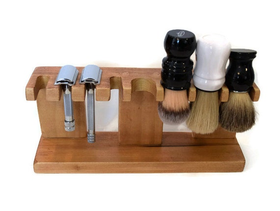 Safety Razor Shaving Brush Stand Custom Wood Up To 5 Slots