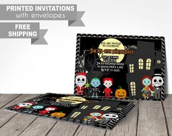 nightmare before christmas invitation, printed invitations with envelopes, halloween invitation, costume party invitation, birthday