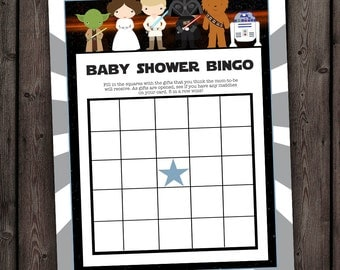 Star Wars Baby Shower Games, Bingo, Star Wars Bingo Shower Game, Star Wars