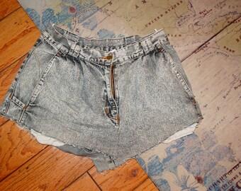 Womens Vintage Acid Wash High Waisted Shorts