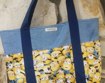 Minions, tote bag. Shoulder bag. In blues and yellow.