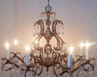 Vintage Chandelier Bronze Finish Pineapple Birdcage Bird Cage 8 Lights