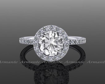White Sapphire Engagement Ring, Halo White Sapphire Wedding Ring, Diamond Engagement Ring, 14K White Gold