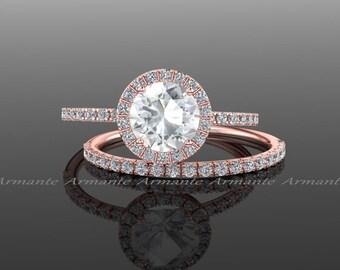 Diamond Alternative Engagement Set, 14k Rose Gold White Sapphire And White Topaz Halo Wedding Set Re00074rtz