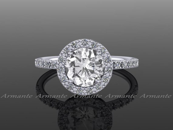 Halo Natural White Sapphire Engagement Ring 14k White Gold