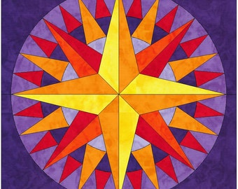 Mariner's Star Compass 15 Inch Block Paper Template Quilting Block Pattern PDF