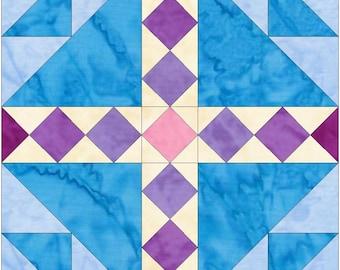 Bird's Nest 15 Inch Block Paper Template Quilting Block Pattern PDF