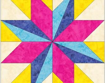 LeMoyne Star Variation Paper Piece Templates Quilting Block Pattern PDF