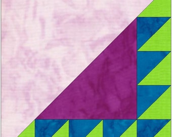 Sawtooth 5 Paper Piece Template Quilting Block Pattern PDF