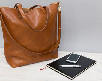 Sophia - Light brown leather shopper, camel leather tote bag, large bag, every day use tote bag