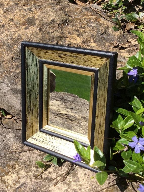 Sale vintage small gold black wood framed mirror wall for Small gold framed mirrors
