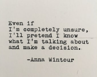 Anna Wintour Productivity Quote Typed on Typewriter - 4x6 White Cardstock