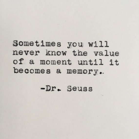 Dr Seuss Memory: Dr. Seuss Memory Quote Typed On Typewriter 4x6 White
