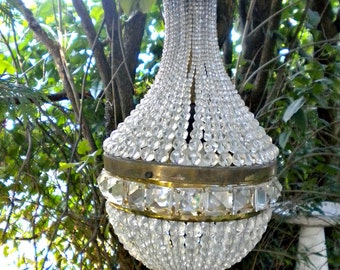 Antique French Chandelier, Architectural Empire Basket Chandelier, Rock Crystal, Beaded Dome