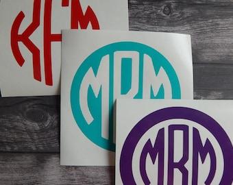 Monogram Decal, vinyl monogram, monogram, car decal, yeti decal, laptop decal, vinyl sticker, custom monogram, Girlfriend Gift