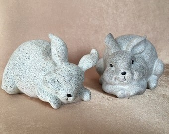 Speckled Bunny, Grey Bunny Figurines, Resin Easter Bunnies, Faux Stone bunny, Easter Decor, Modern Texture, Black on Grey, Rabbit Figurines