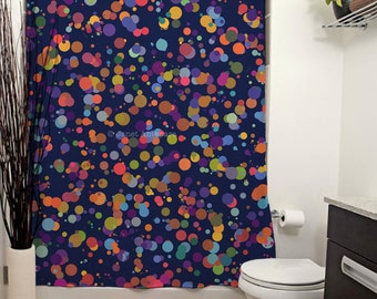 Dots, Dots and More Dots Printed Shower Curtain. Polka Dot Bathroom Decor, Blue Shower Curtain, Polka Dot Shower Curtain, Colorful Art Decor
