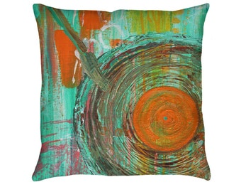 Big Band Printed Throw Pillow. Cushion Cover, Apartment and Dorm Decor, Sofa Cushion, Music, Record Player, Vintage LP, Abstract Painting