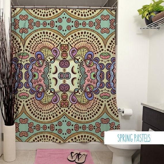 Spring Pastels Shower Curtain. Art Deco Bath Decor Floral