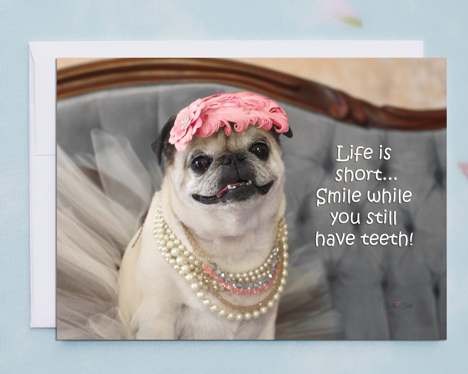 funny birthday cards, smile while you still have teeth, funny pug, Birthday card