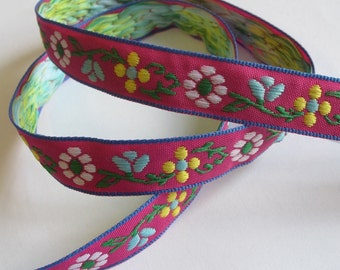 Web band 18 mm colorful flowers on pink