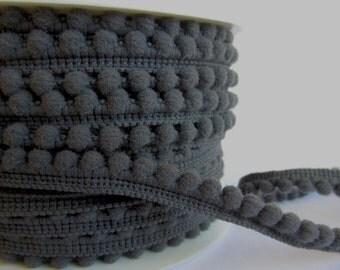 Pompom trim dark grey