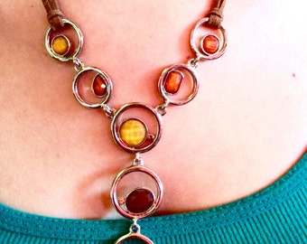 Vintage Y Necklace Pendant With Leather Cord